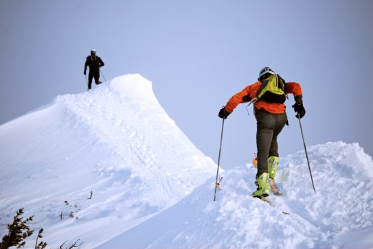During Bridger Bowl's Skin to Win skimo event, top endurance athletes use skins on ultra-light skis to reach the top of the fabled Bridger Ridge, where they traverse the peaks on the way to the southern-most boundary at 8,800 feet before a screaming dow