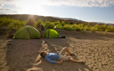 A nice camp spot on a sandy beach in Paradise Valley around day 5 of our journey.