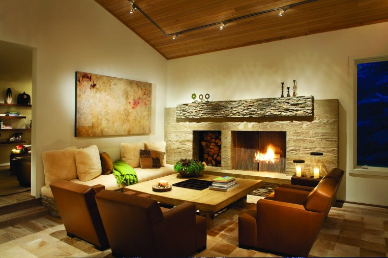 A warm hearth in the living room.