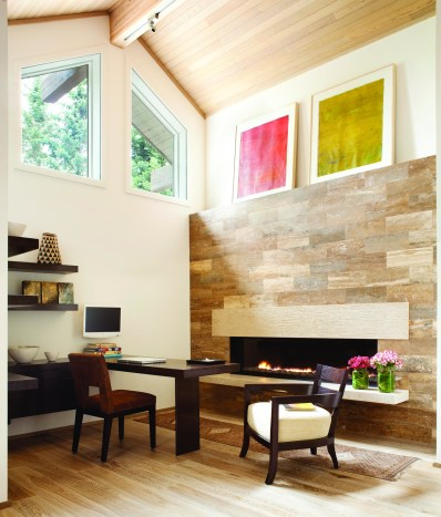 SPARK Modern Fires' linear burner system provides warmth to a private retreat area furnished with Berman/Rosetti designs.