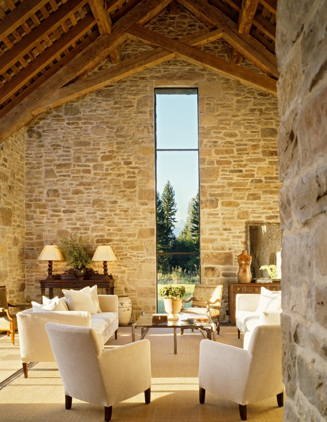 "Exposed timbers and parged stone walls nearly outdo the view of The ""Grand"" which is oriented in the center of the window. Reconstructed from the late 1800's, the window proportions were enhanced slightly but are derived from the original creamery d"