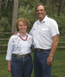 Carmen and Dave in the backyard of their Big Timber ranch on the eve of their 32nd wedding anniversary.