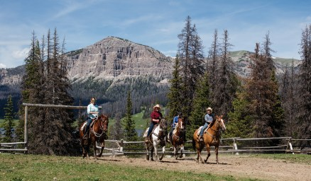 Riding against the backdrop of stunning Wyoming.