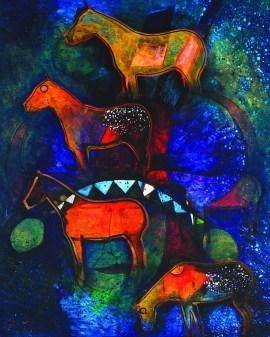 """Evening Mountain Horses"" | Acrylic on Canvas | 20"" x 16"""