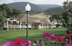 Chico Hot Springs Resort is a blend of old and new, the architecture of the contemporary convention center on the front lawn echoes the historic ties of the original main lodge built in 1900. Photo courtesy of Chico Hot Springs