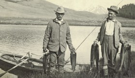 Picnic Springs, June 12, 1913: While the fishermen are unknown, the fish appear to be rainbow trout from an earlier stocking of steelhead/rainbow trout fingerlings. Photo courtesy Terry and Gayle Hanson
