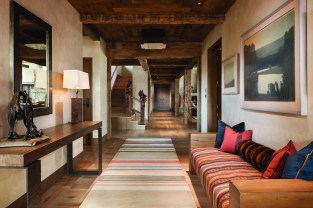 The home's floors are fumed oak. Plaster walls create a rich and varied texture.