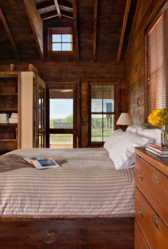 The owners decorated the cabins on their own, opting to piece together family antiques and custom furnishings to accomplish a rustic atmosphere.
