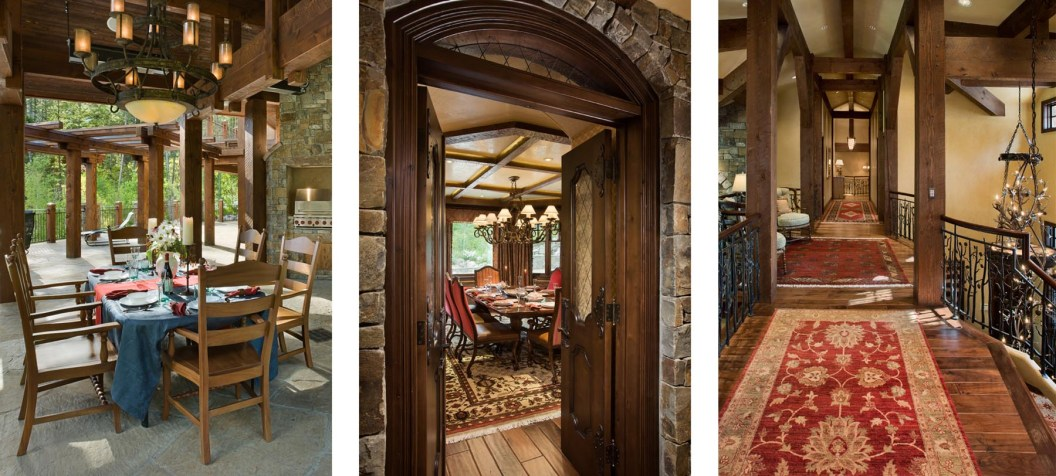 Left: There is easy access to the outside from almost every room - public and private - in the home. • Center: The Hennessy family tries to get together - trading stories and laughs in the formal dining room - a couple times a year. • Right: Accented with heavy timbers and wrought iron, the second story hallway overlooks both the entryway and the great room.