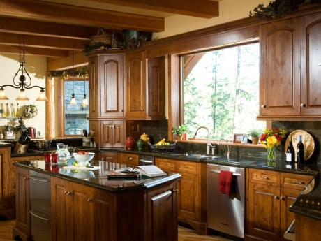 The kitchen overlooks the river and is truly the heart of the home.