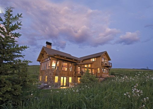 The great room in the Green Hills Ranch residence south of Bozeman is it's own building, essentially a peninsula, with views that capture morning sunlight to the east, the Bridger Mountains to the north, and spectacular sunsets over the Tobacco Root mount