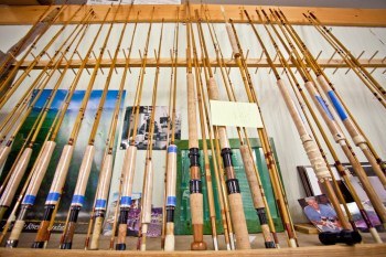 Rods in various stages of construction and repair line the walls at Sweetgrass' Twin Bridges headquarters, backed by loving letters and photographs of far-flung locales. Everything in the room has a memory attached to it.