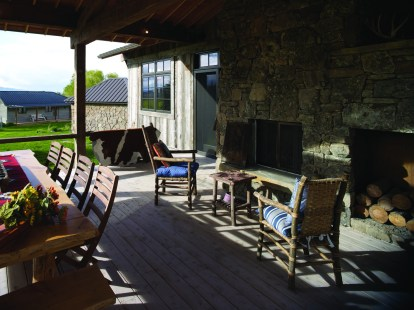 Outdoor living was an important aspect to the renovation, with an outdoor fireplace and plenty of room for an evening gathering.