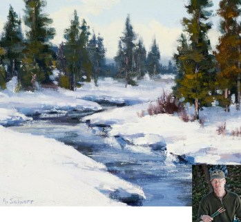 """Obsidian Creek""   Oil on Canvas   9"" x 12""   By Aaron Schuerr"