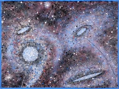 "Ocean of Stars • encaustic on paper mounted on panel • 22"" x 30"""