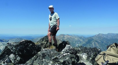 The author at the summit of the south Heavenly Twin, Selway-Bitterroot Wilderness Area. Photo by Bruce Smith