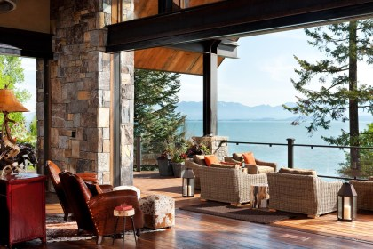 Lift and slide doors connect the great room to the deck, patio and world-class scenery beyond.