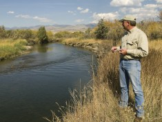 Les Gilman, executive director of Ruby Habitat Foundation, inspects the Ruby River at Woodson Ranch in Sheridan, Montana.