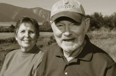 Martha and Craig Woodson (founders of Ruby Habitat Foundation) pause for a portrait near the Ruby River, at Woodson Ranch in Sheridan, Montana.