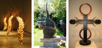 """Left: """"Wheat"""" by Tracy Linder, Molt, Montana   Leather and Polyester Resin   78"""" x 60"""" each   Photo by Tracy Linder • Center: """"Six Seven Eight"""" by Jennifer Pulchinski, Bozeman, Montana   Barb Wire   102"""" x 30"""" x 30""""   Photo by Doug Loneman • Right: """"Copper Comet"""" by Charles Ringer, Joliet, Montana   Kinetic Steel and Copper   54"""" x 43"""" x 16""""   Photo Charles Ringer"""