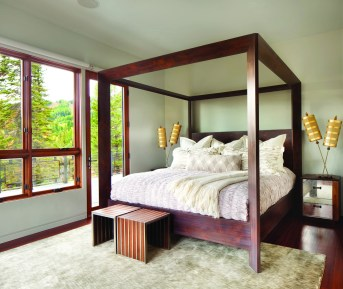 Tucked away on the main level, the master bedroom is compact, comfortable and private.