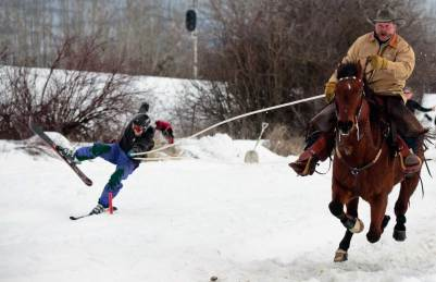Hold your horses! Tight slalom gates can create trouble for skiers being pulled at speeds approaching 50 miles-per-hour.