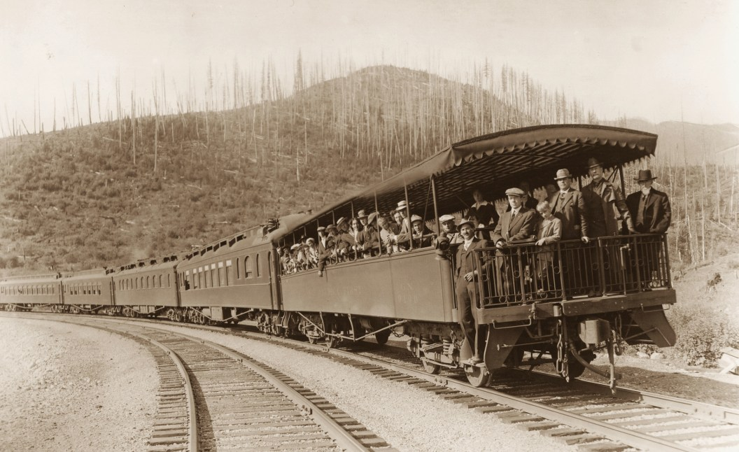 Beginning seasonally in the summer of 1913, the Great Northern added open observation cars to its trains passing through Glacier National Park. Photos courtesy Roberts Rinehart Publishers