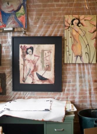 Detail of Brad Bunker's paintings in his Main Street studio above the Danforth Gallery.