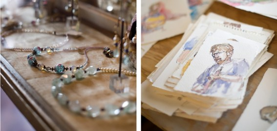 Left: Christina Perry Design showed jewelery in the home of Audrey Hall. • Right: Details of sketches in the studio of Robert Spannring in Paradise Valley.