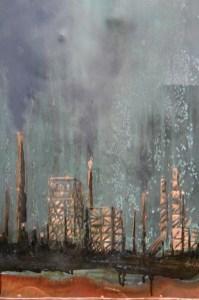 """Carbon Aurora"" | Nolan Salix | Patina and Mixed Media on Copper"