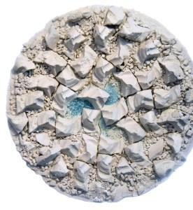 "Rachael Marne Jones | Slip-cast Porcelain & Found Insulator Fragment Glass | 24"" x 24"" x 6"""