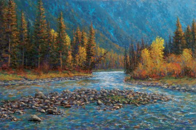 "Late Afternoon Along the Gallatin River — September Pastel | 24"" x 36"""
