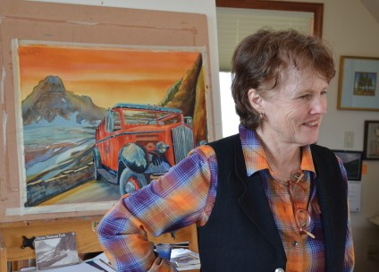 Nancy Cawdrey in her studio. Photo by Michele Corriel
