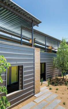 Steel siding now comes in a variety of colors and textures, from a sleek metallic to a rusted finish. Photo by Bridger Steel