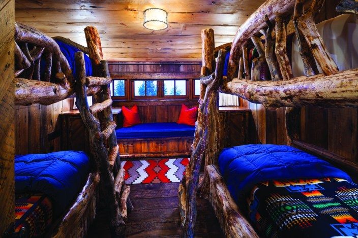 Kids can pile into the bunkroom, with custom bunk beds, for a fun sleepover.