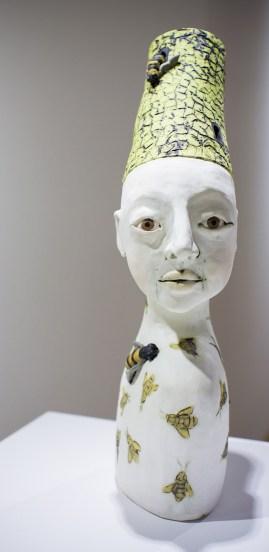 """Renee Rouillier's sculpture, """"Bee Sanctuary, Buzzing in my Head."""""""