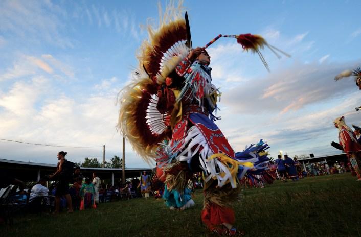 The open-air dance arbor, 200 feet in diameter, serves as the focal point of the Crow Fair.