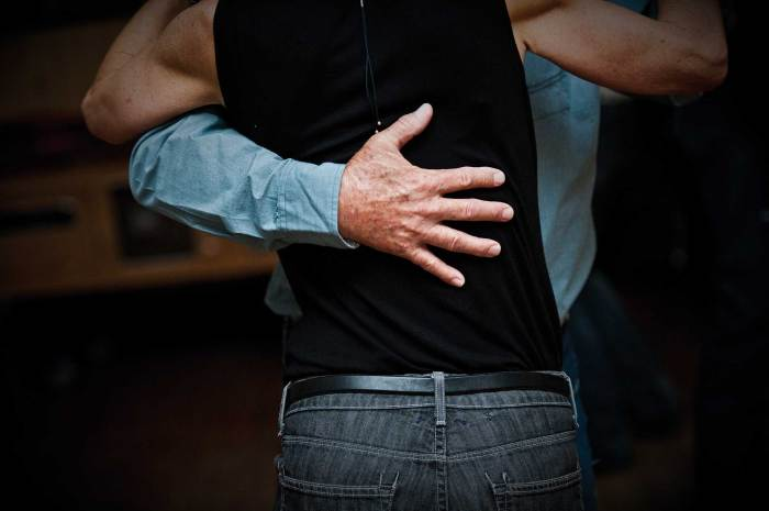 A couple dances on a Sunday afternoon at the American Legion Club in Belgrade.