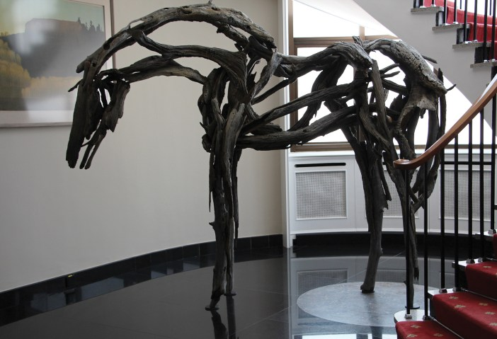 """The striking presence of a 3,000 pound bronze horse, """"Isabelle"""" greets guests at the entrance to the U.S. Ambssador's residence. """"Isabelle"""" 