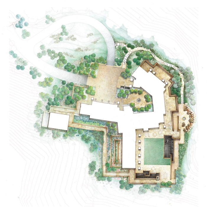 At Woody Creek Garden, two courtyards interlink the residence allowing each room to enjoy the visual landscape. The garden is built as a functioning green roof over a portion of the residence, leaving the steeply sloping site undisturbed.