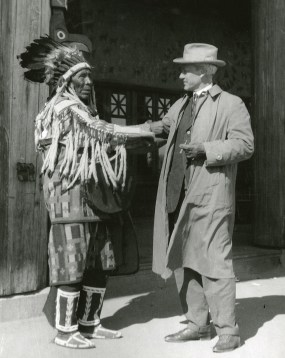 Stephen Mather at Glacier Park Lodge with unidentified man, 1925. Photo courtesy of Glacier National Park Archives