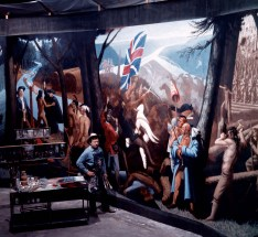 Harry Jackson painting his Fort Pitt Mural, 1970s.