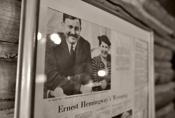 A framed article at Spear-O reports on Ernest and Pauline Hemingway's visit. Photo by Travis Cebula