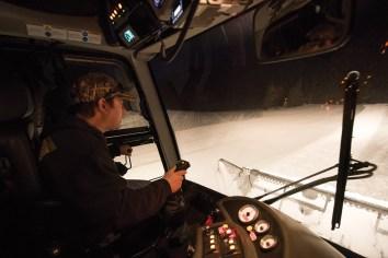 Eric Reily maneuvers his snowcat around Jackson Hole Mountain Resort, carefully grooming the slopes.