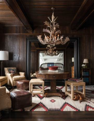 "The entrance foyer for Kibler & Kirch is a space of ""remade wood"" and elegant cowboy comfort."