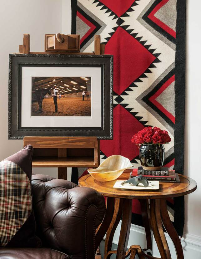 Though the focus is Western, unexpected details are contrasted and juxtaposed with pops of red.