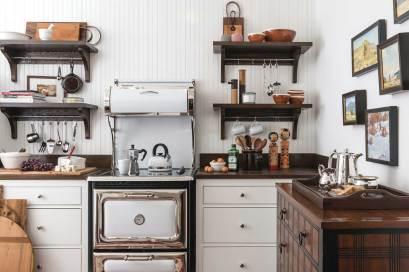 A modern Heartland range provides modern convenience in a rustic styled farm kitchen.