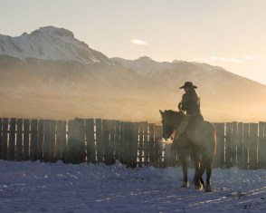 Tayler Teichert circles the corral at the Bar S Ranch on the last morning of the Stoecklein Photo Workshop.