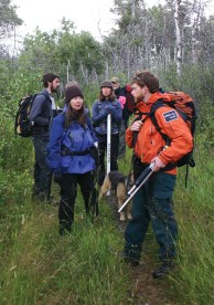 Eisenberg and her field crew in Waterton National Park with a Parks Canada escort. Photo by Brian Schott