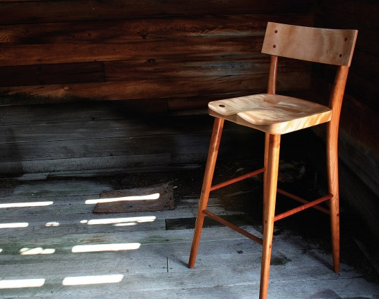 """""""Maureen's Stool"""" made of cherry and quilted birch."""